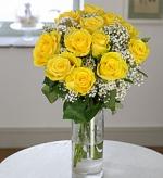 Cam Vazoda 12 Sarı Gül