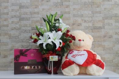 Ayıcık Çikolata Kalp Çiçek