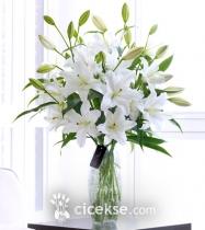 Cam Vazoda Beyaz Lilyumlar