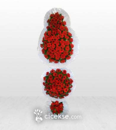 Üçlü Kırmızı 150 Gerberadan Çelenk