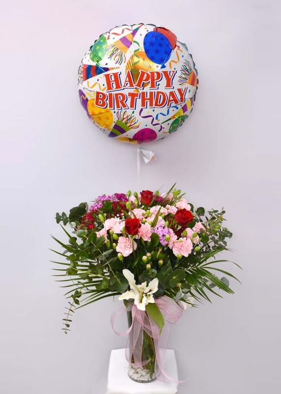 Doğum Günü Balonlu Çiçek Aranjmanı