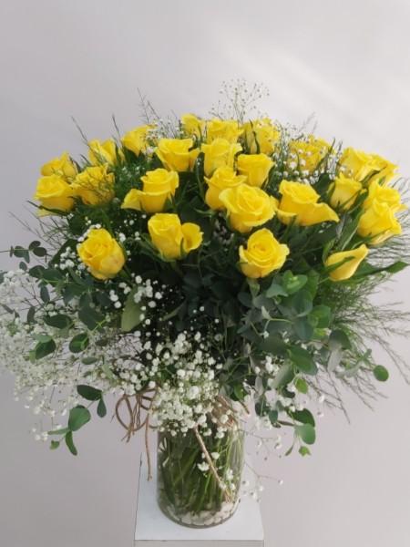 Sarı Güller İthal 41 Adet Vazoda