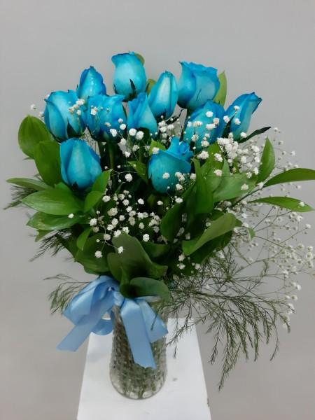 Mavi Güller Cam Vazoda 11 Adet
