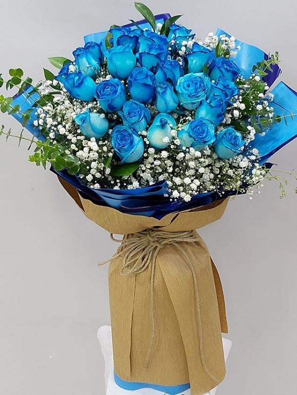 Mavi Gül Buketi Gösterişli