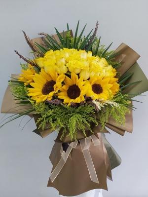 Ayçiçeği Sarı Gül Buketi
