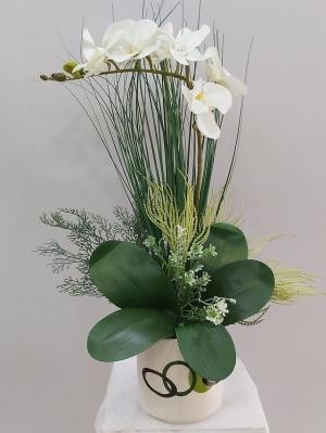 Saksıda Yapay Beyaz Orkide