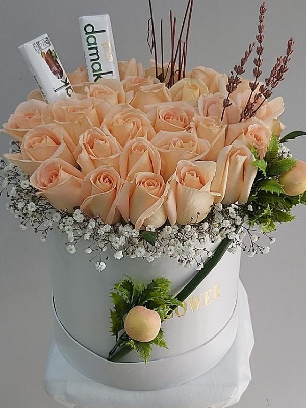 Kutuda Yavruağzı Güller Çikolatalar